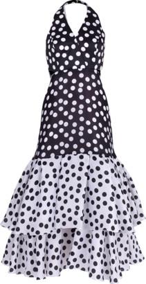 Carolina Herrera Ruffle Hem Cutout Dress