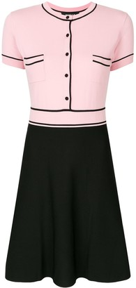 Paule Ka Contrast-Trim Flared Knit Dress