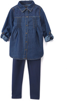 U.S. Polo Assn. Medium Wash Button-Up & Leggings - Infant, Toddler & Girls