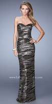 La Femme Undulating Sequin Evening Dress