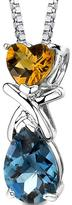 Ice 3 CT TW Citrine and Topaz Rhodium-Plated Sterling Silver Heart Pendant Necklace