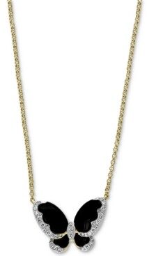 "Effy Diamond (1/5 ct. t.w.) & Onyx (3-1/2mm, 4-1/2mm) Butterfly 18"" Pendant Necklace In 14k Gold"