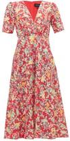 Saloni Eden Floral-print Silk Midi Dress - Womens - Red Multi