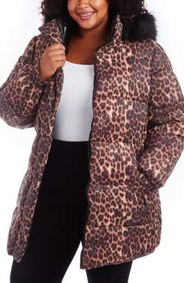 Rachel Roy Animal Print Puffer Coat with Faux Fur Trim
