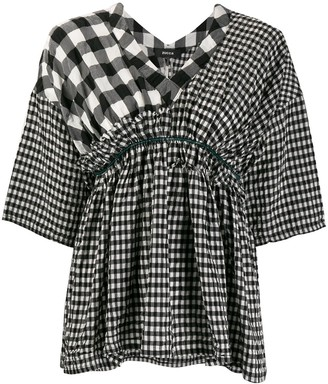 Zucca Contrast Gingham Print Blouse