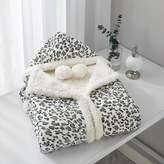 Chic Home Leopard Snuggle Hoodie Spot Animal Print Robe Cozy Super Soft Ultra Plush Micromink Sherpa Lined Wearable Blanket with 2 Pockets Hood Button Closure 51x71