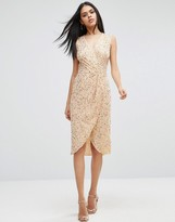 Asos Twist Front Mesh Sequin Midi Dress
