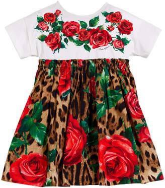 Dolce & Gabbana Leopard & Rose Print Mixed Material Dress, Size 8-12
