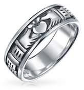 Bling Jewelry Antique Styled Finish Claddagh Band Sterling Silver Ring.