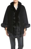 Blue Duck Women's Genuine Fox Fur Trim Wool Blend Cape