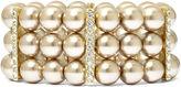 JCPenney Vieste Silver-Tone Pearlized Glass Bead 3-Row Stretch Bracelet