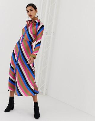 Neon Rose midaxi shirt dress in luxe stripe-Multi