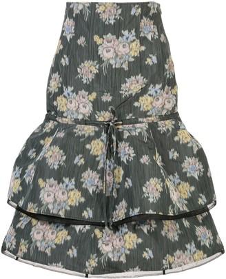Brock Collection Floral Print Midi Skirt