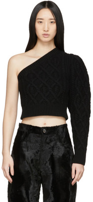Wandering Black Single Shoulder Cropped Sweater