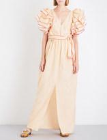 Rosie Assoulin Ruffle-sleeved silk-blend maxi dress