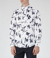 Reiss Reiss Bilby - Painterly Print Shirt In White