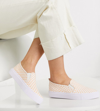 ASOS DESIGN Wide Fit Dotty slip on plimsolls in pink gingham