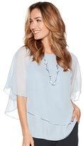 M&Co Chiffon layer top with necklace