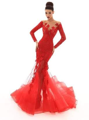 Tarik Ediz Embroidered Mermaid Gown