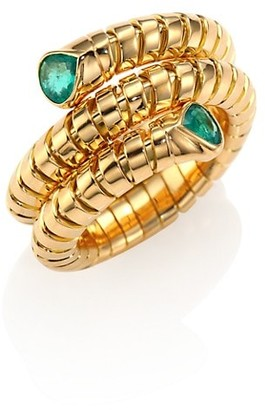 MARINA B Trisola Emerald & 18K Yellow Gold Coil Ring