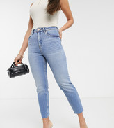 Asos DESIGN Petite Farleigh high waisted slim mom jeans in pretty bright mid wash blue with raw hem