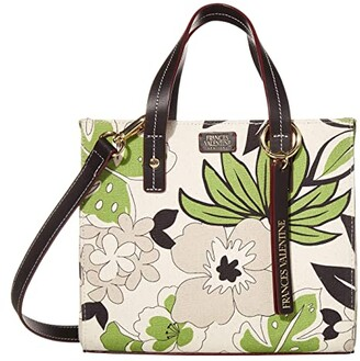 Frances Valentine Small Chloe Merida Print on Canvas Tote w/ Crossbody Strap (Natural Green Multi) Handbags