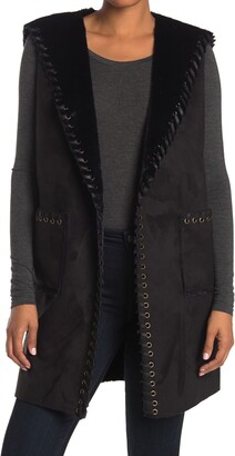 Love Token Whipstitch Trim Faux Suede & Faux Fur Vest