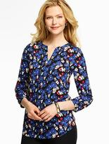 Talbots Flowers & Butterflies Lace-Pintuck Popover