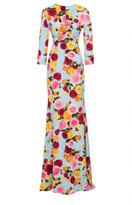 Naeem Khan Long Sleeve Floral Gown