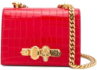 Alexander McQueen Small Croc-Effect Jewelled Crossbody Bag