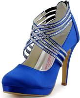 ElegantPark EP11085-PF Women Platform High Heel Closed Toe Cross Strap Rhinestones Satin Wedding Shoes US 8
