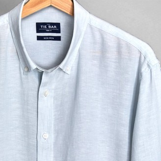 Tie Bar Linen Seafoam Non-Iron Casual Shirt