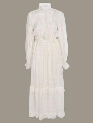 Etro Long Dress With Micro Ruffles