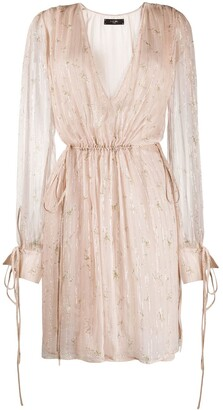 Amiri Floral Print Plunge Dress