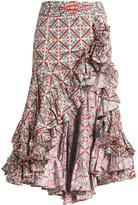 Caroline Constas Giovanna ruffled-hem floral tile-print skirt