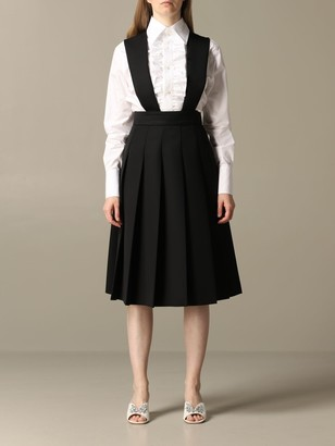 Miu Miu Dungaree Skirt With Jewel Buttons