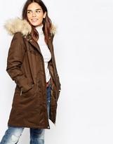 Warehouse Faux Fur Parka