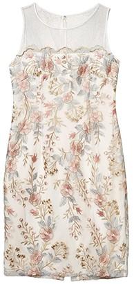 Adrianna Papell Embroidered Scalloped Sheath Dress (Pink Multi) Women's Dress