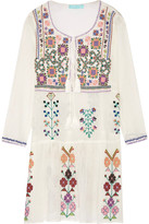 Melissa Odabash Millie Embroidered Crinkled Cotton-gauze Mini Dress - Cream