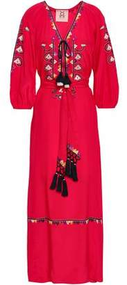 Figue Embroidered Silk Crepe De Chine Maxi Dress