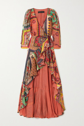 Etro Asymmetric Ruffled Printed Cotton And Silk-blend Wrap Dress - Red