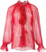 Roberto Cavalli ruffled sheer blouse