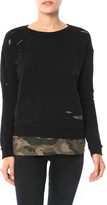 Generation Love West Camo Double Layer Sweatshirt With Holes
