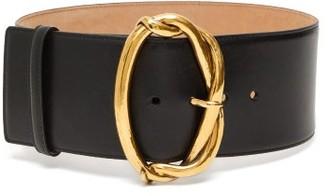 Alexander McQueen Oval-buckle Leather Belt - Womens - Black