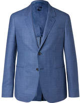 Caruso Blue Butterfly Slim-fit Unstructured Nailhead Wool Blazer - Blue
