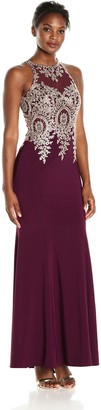 Xscape Evenings Women's Long Ity with Emb/Bead Top and Illusion Sleeves