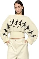 Sportmax Cropped Chenille Jacquard Knit Sweater