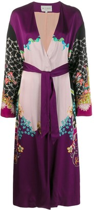 Etro Floral Print Contrast Belted Coat