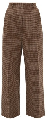 Racil Robert Side-striped Houndstooth-wool Trousers - Brown