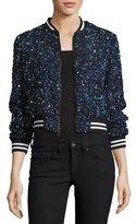 Alice + Olivia Lonnie Embellished Bomber Jacket, Blue